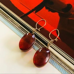 Red Stone & Delicate Gold Drop Vintage Earrings